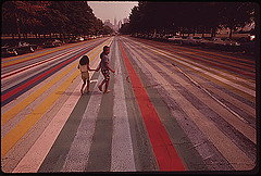 colourful stripes on road