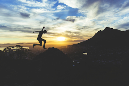 leap, mountains, sunset