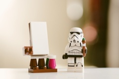 three line tales week 53: a stormtrooper with a paint brush and an easel