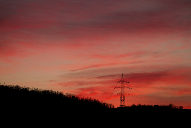 three line tales week 66: a pylon with red sunset