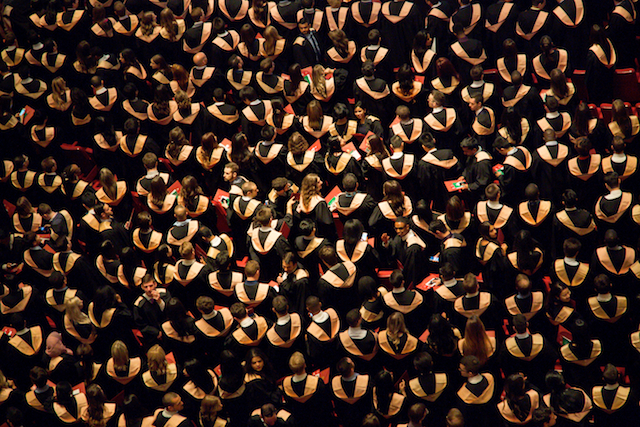 three line tales week 68: a whole bunch of graduates at their graduation ceremony