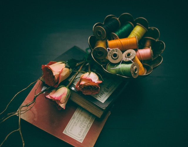 three line tales, week 107: diaries, roses and bobbins with sewing thread
