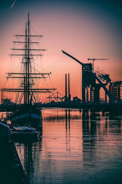three line tales, week 126: a tall ship on the liffey at sunrise