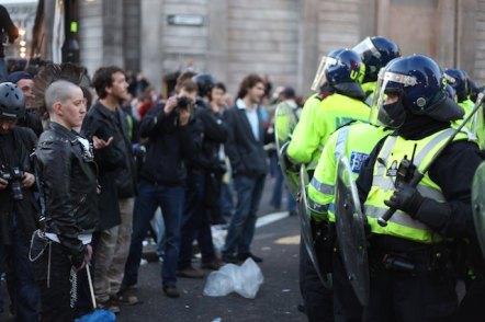 three line tales, week 160: protesters meet riot police