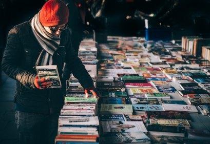 three line tales, week 162: people browsing a book stall