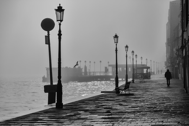 black and white Venice waterfront