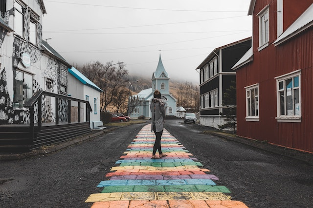 three line tales, week 184: rainbow brick road leading towards an Icelandic church