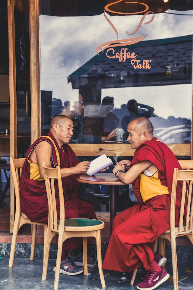 three line tales, week 187: two buddhist monks at a coffee shop