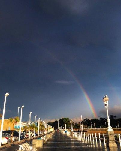 three line tales, week 192: a rainbow over a plaza