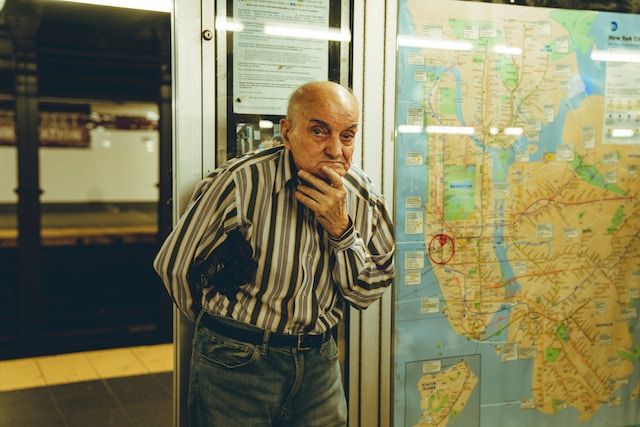 three line tales, week 193: a man beside a map of New York