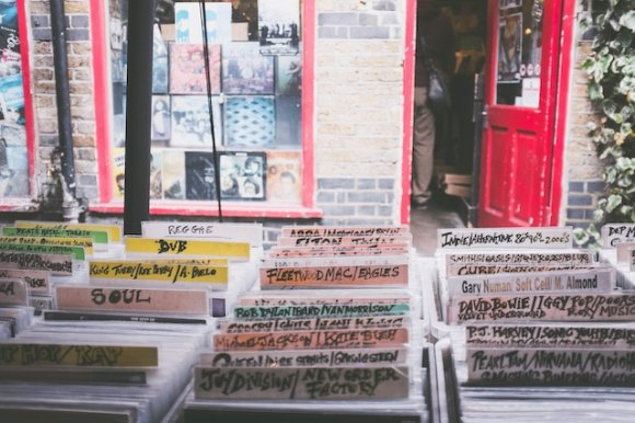 three line tales, week 197: vinyl albums in a record shop, bowie, the cure, fleetwood mac, joy division