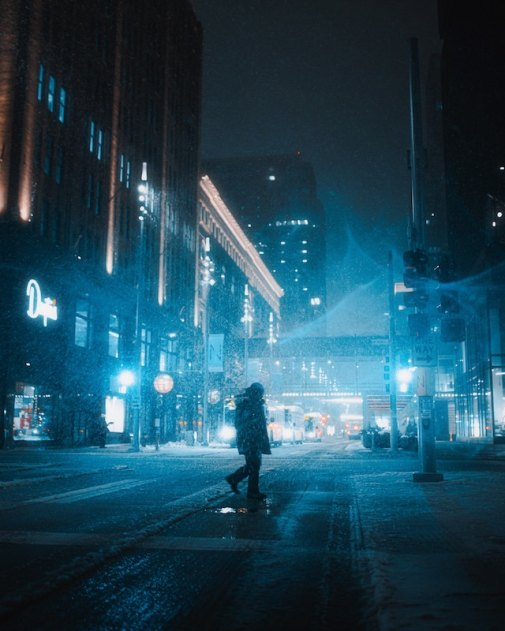 three line tales, week 202: snow in the city at night