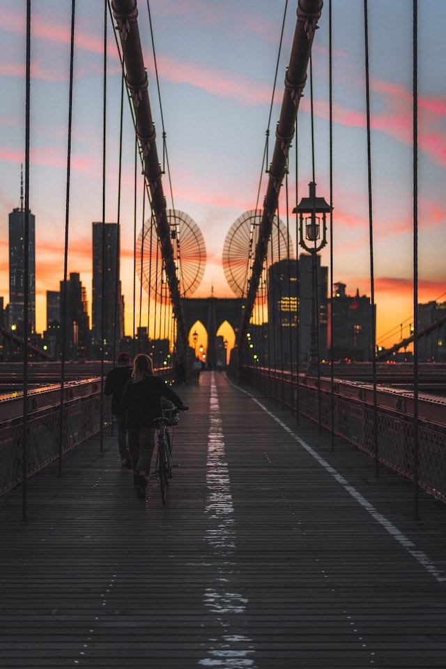 three line tales, week 231: the Brooklyn Bridge at sunset